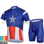 ชุดจักรยานแขนสั้น Captain America สีน้ำเงิน