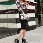 รองเท้าบู๊ทส้นสูงสีดำ ซิปหน้า หัวกลม ส้นสูง10cm สวยหรู แฟชั่นเกาหลี
