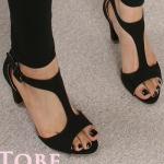 รองเท้าส้นสูงสีดำ รัดส้น หนังกลับ เซ็กซี่ ส้นสูง7cm แฟชั่นเกาหลี