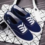 รองเท้าผ้าใบแฟชั่นผู้หญิงสีน้ำเงิน พื้นขาว ส้นเตี้ย แบบเชือกผูก น่ารัก ทรงทันสมัย แฟชั่นเกาหลี
