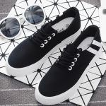 รองเท้าผ้าใบแฟชั่นเกาหลีสีดำ แถบสีขาว แบบเชือกผูก เชือกกลม พื้นหนา ทรงทันสมัย น่ารัก