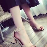 รองเท้าส้นสูงสีกากี รัดส้น แบบส้นหนา สายรัดปรับระดับได้ สไตล์เปิดโชว์นิ้วเท้า แฟชั่นเกาหลี