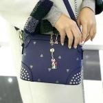 กระเป๋าสะพายข้างสีน้ำเงิน สายยาวสามารถถอดออกได้ ปรับความยาวได้ จะถือหรือสะพาย ก็เริ่ด แฟชั่นเกาหลี