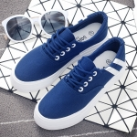 รองเท้าผ้าใบแฟชั่นเกาหลีสีน้ำเงิน แถบสีขาว แบบเชือกผูก เชือกกลม พื้นหนา ทรงทันสมัย น่ารัก