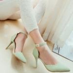 รองเท้าส้นสูงสีเขียว รัดส้น หัวแหลม เข็มขัดรัดข้อเท้า ส้นสูง8.5cm แนวหวาน เจ้าหญิง สไตล์แฟชั่นเกาหลี