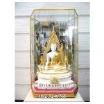 พระพุทธรูปปางมารวิชัย ซุ้มแก้ว ( พระพุทธชินราช ) สีขาว เนื้อเรซิ่น หน้าตัก 5นิ้ว สูง 13 นิ้ว พร้อมตู้ขนาด 8*6*16นิ้ว