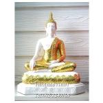 พระพุทธรูปปางมารวิชัย สีขาว เนื้อเรซิ่น หน้าตัก 9 นิ้ว สูง 15 นิ้ว (รวมฐาน)
