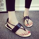รองเท้าแตะผู้หญิงสีดำ รัดส้น แบบหนีบ สไตล์โรมัน เรียบง่าย ดูดี สวมใส่สบายเท้า แฟชั่นเกาหลี