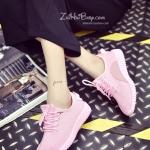 รองเท้าผ้าใบผู้หญิงสีชมพู แบบเชือก พื้นหนา รับน้ำหนักได้ดี ทรงทันสมัย ดูดี กำลังฮิต แฟชั่นเกาหลี