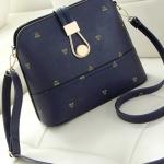 กระเป๋าสะพายข้างสีน้ำเงิน ทรงสี่เหลียม หนังPUนิ่มคุณภาพสูง สวยหรู แฟชั่นเกาหลี