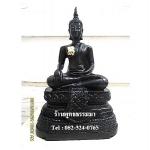 พระพุทธรูปปางมารวิชัย ( ปางสะดุ้งมาร ) สีดำ เนื่อเรซิ่น หน้าตัก 5นิ้ว สูง 10.5 นิ้ว (รวมฐาน)