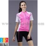 ชุดจักรยานแขนสั้น Cheji 2015 สีชมพูขาว