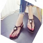 รองเท้าแตะผู้หญิงสีดำ ส้นแบน แบบหนีบ ประดับมุกสุดหวาน สไตล์โรมัน ดูดี แฟชั่นเกาหลี