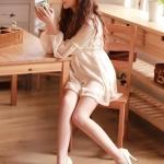 รองเท้าทำงานส้นสูงสีครีม หุ้มส้น หัวกลม ส้นเข็ม ส้นสูง11cm ทรงเจ้าหญิง แฟชั่นเกาหลี