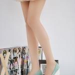 รองเท้าส้นสูงสีฟ้า แบบส้นหนา ทรงรองเท้าตุ๊กตา หัวกลม ประดับโบว์ ส้นสูง8cm แฟชั่นเกาหลี