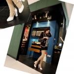 รองเท้าส้นสูงสีขาว รัดส้น หัวกลม ประดับสร้อยสีทอง หัวเข็มขัด ส้นสูง5.5cm แฟชั่นเกาหลี