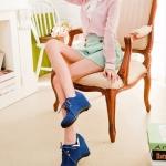 รองเท้าแฟชั่นผ้าใบผู้หญิงสีคราม ส้นหนา วัสดุPU แบบเชือกผูก ส้นหนา5cm แฟชั่นเกาหลี