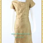 3136เสื้อผ้าคนอ้วน ชุดออกงานสีทองผ้าซาติน โชว์ลวดลายด้วยการต่อผ้า10ชิ้นชุดทรงตรง สวมใส่พอดีตัว คลุมยาวมีซับใน