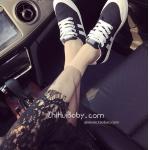 รองเท้าผ้าใบผู้หญิงสีดำ แบบเชือก ทรงคลาสสิค ดูดี ฮิตตลอดกาล แฟชั่นเกาหลี