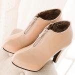 รองเท้าบู๊ทส้นสูงสีแอปริคอท ซิปหน้า หัวกลม ส้นสูง10cm สวยหรู แฟชั่นเกาหลี