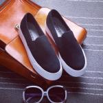 รองเทาผ้าใบผู้หญิงสีดำ พื้นหนา แบบสวม แนวคลาสสิค เรียบง่าย ทรงทันสมัย แฟชั่นเหาหลี