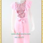3148เสื้อผ้าคนอ้วน ชุดออกงานสีชมพู คอกลมแขนระบายคลุมไหล่แทรกผ้าลายด้านหน้าพรางทรงด้วยลายผ้าสไตล์หวานเรียบร้อยแบบไทย