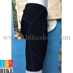 กางเกงปั่นจักรยานขาสั้น สีดำตะเข็บน้ำเงิน