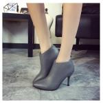 รองเท้าบูทส้นสูงสีเทา แบบซิป ทรงสวย ดูดี ส้นสูง9ซม. แฟชั่นเกาหลี