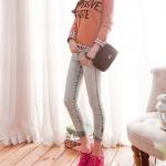 รองเท้าแฟชั่นผ้าใบผู้หญิงโรส ส้นหนา วัสดุPU แบบเชือกผูก ส้นหนา5cm แฟชั่นเกาหลี