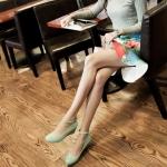 รองเท้าคัทชูผู้หญิงสีเขียว ไมโครไฟเบอร์ หัวกลม มีเข็มขัดรัดข้อเท้า ส้นหนา ส้นสุง4cm แนวหวาน น่ารัก แฟชั่นเกหลี
