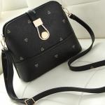 กระเป๋าสะพายข้างสีดำ ทรงสี่เหลียม หนังPUนิ่มคุณภาพสูง สวยหรู แฟชั่นเกาหลี