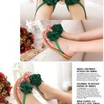 รองเท้าแตะแฟชั่นผู้หญิงสีเขียว ประดับดอกไม้ แบบหนีบ เปิดส้น สวมใส่สบาย แฟชั่นเกาหลี