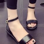 รองเท้าแตะแฟชั่นสีดำ รัดส้น เข็มขัดปรับระดับได้ แบบโบฮีเมี่ยน ส้นแบน สวมใส่สบาย กระชับเท้า แฟชั่นเกาหลี