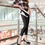รองเท้าทำงานส้นสูงสีดำ หุ้มส้น หัวแหลม หนังแก้ว ส้นเข็ม ส้นสูง6cm ทรงสุภาพ แฟชั่นเกาหลี
