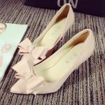 รองเท้าส้นสูงสชมพู หัวแหลม ประดับโบว์ ส้นสูง7.5 แฟชั่นเกาหลี