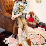 รองเท้าผ้าใบผู้หญิงสีเบจ หนังPU หัวแหลม โชว์ลายเย็บ แบบเชือกผูก ลำลอง แฟชั่นเกาหลี