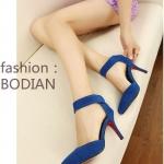 รองเท้าส้นสูงสีฟ้า แบบส้นเข็ม วัสดุPU รัดส้น ส้นสูง8cm หรูหรา สไตล์เจ้าหญิง แฟชั่นเกาหลี