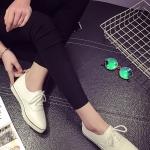 รองเท้าผ้าใบผู้หญิงสีขาว หนังPU หัวแหลม แบบเชือกผูก พื้นยาง พื้นหนา ทรงทันสมัยแฟชั่นเกาหลี