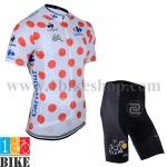ชุดจักรยานแขนสั้น Tour de France 2014 สีขาวจุดแดง