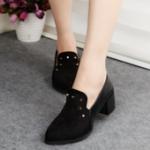 รองเท้าคัตชูผู้หญิง หนังสีดำ ส้นหนา ทรงสุภาพ ใส่ทำงาน