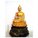 พระพุทธรูปปางมารวิชัย ( ปางสะดุ้งมาร ) สีทอง เนื้อเรซิ่น หน้าตัก 5นิ้ว สูง 12 นิ้ว (รวมฐาน)