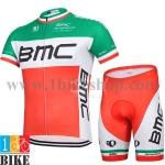 ชุดจักรยานแขนสั้น BMC 2015 สีเขียวขาวส้ม