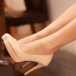 รองเท้าทำงานส้นสูงสีแอปริคอท หุ้มส้น หัวกลม ส้นเข็ม ส้นสูง11cm ทรงเจ้าหญิง แฟชั่นเกาหลี