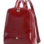 กระเป๋าเป้สีแดงน้ำตาล หนังเงา ตัวซิปเป็นรูปหัวใจ บรรจุของได้เยอะ ใส่เที่ยว ทำงาน อยู่ในใบเดียว แฟชั่นเกาหลี