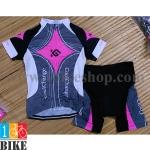 ชุดจักรยานแขนสั้น Coolchange 2015 สีชมพูเทา