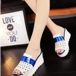 รองเท้าส้นเตารีดสีน้ำเงิน แบบสวม เปิดส้น หัวเจาะลายดาว น่ารัก แฟชั่นเกาหลี