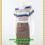 3055ชุดเดรสทำงาน เสื้อผ้าคนอ้วน ลายขวางสีสดใสเล่นเชิงกระโปรงด้วยจีบรอบโดดเด่นเพิ่มความหวานสไตล์เบบี้