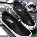 รองเท้าผ้าใบแฟชั่นเกาหลีสีดำ EXO หนังเรียบ หัวกลม พื้นหนา แบบสวม น่ารัก ใส่ลำลอง