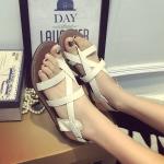 รองเท้าแตะผู้หญิงสีขาว แนววินเทจ สไตล์โรมัน แฟชั่นเกาหลี