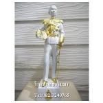 เสด็จเตี่ย กรมหลวงชุมพรเขตอุดมศักดิ์ เนื้อโลหะ พ่นขาว ปิดทองแท้ ฐาน 4 นิ้ว สูง 14 นิ้ว (รวมฐาน)